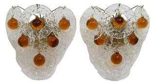 (2) MID-CENTURY MODERN ART GLASS WALL SCONCES