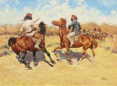 JACK CANNON PAINTING INDIAN BRAVES ON HORSEBACK