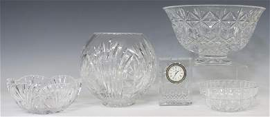 (5) CUT & MOLDED GLASS TABLE ITEMS WATERFORD CLOCK