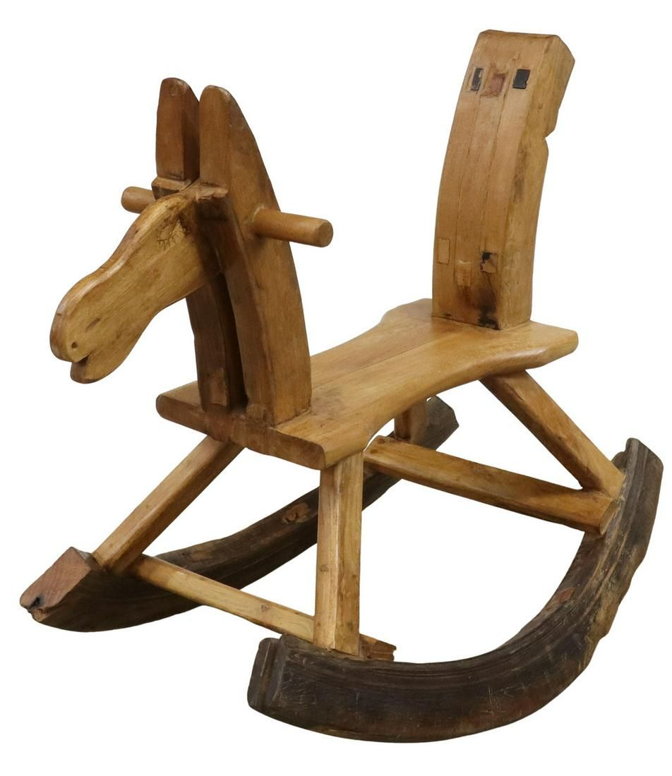PRIMITIVE FOLK ART WOODEN CHILD'S ROCKING HORSE