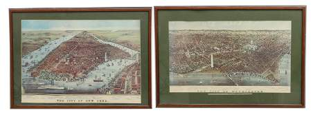2 CURRIER  IVES NEW YORK  WASHINGTON PRINTS