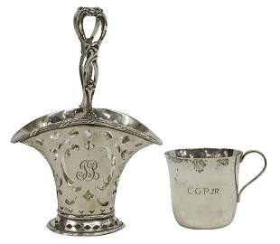 2) TIFFANY & CO. STERLING RETICULATED BASKET & CUP