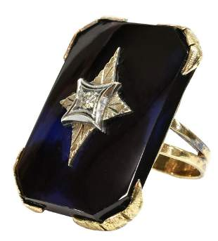 ESTATE 14K GOLD HARDSTONE & 0.08CT DIAMOND RING