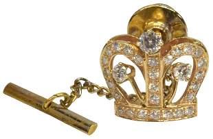 ESTATE 14KT YELLOW GOLD & DIAMOND CROWN TIE TACK
