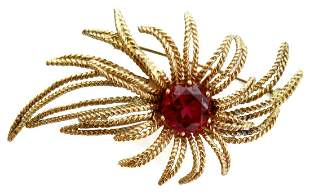 ESTATE 14K GOLD & 6.45CT SYNTHETIC RUBY BROOCH