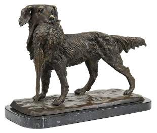 BRONZE HUNTING DOG WITH QUAIL AFTER JULES MOIGNIEZ