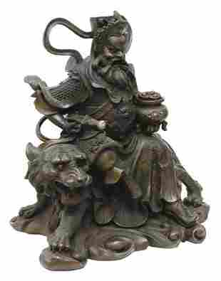 CHINESE BRONZE ZHAO GONG MING WEALTH DIETY STATUE