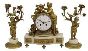 3 LOUIS XVI STYLE BRONZE  MARBLE CLOCK SET