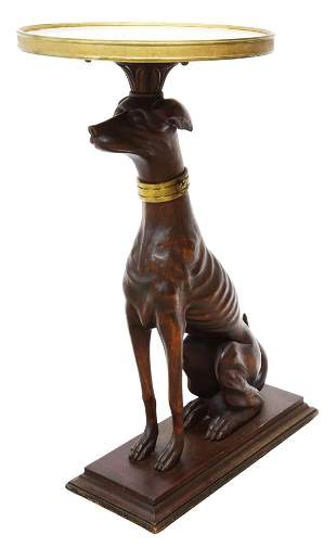 MARBLE-TOP SEATED GREYHOUND SIDE TABLE