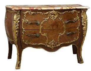 LOUIS XV STYLE MARBLE-TOP BOMBE COMMODE
