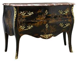 FRENCH CHINOISERIE MARBLE-TOP LACQUERED COMMODE