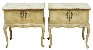 (2) VENETIAN PAINT DECORATED BEDSIDE CABINETS