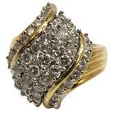 ESTATE 14KT YG  185CTTW DIAMOND COCKTAIL RING
