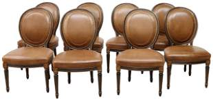 (8) NANCY CORZINE LOUIS XVI STYLE LEATHER CHAIRS