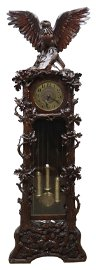 FINE EAGLE-TOPPED BLACK FOREST TALL CASE CLOCK