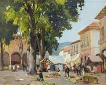 ANTHONY THIEME 18881954 MEXICAN VILLAGE SQUARE