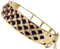 ESTATE 14K GOLD ENAMEL 190CTTW DIAMOND BRACELET