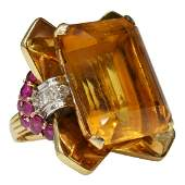 14KT YG 33CT CITRINE DIAMOND  RUBY RETRO RING