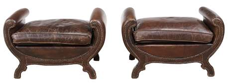 (2) NEOCLASSICAL STYLE LEATHER OTTOMANS