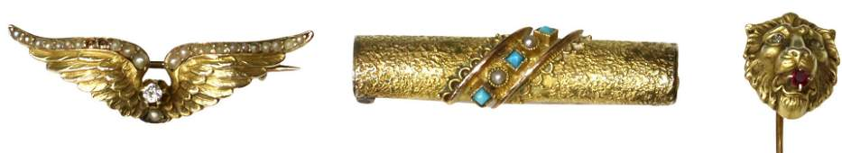 3 VICTORIAN 14KT  18KT GOLD STICK PIN BROOCHES