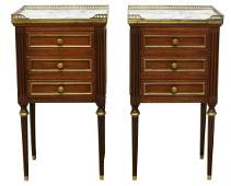 (2) FRENCH LOUIS XVI STYLE MARBLE-TOP NIGHTSTANDS