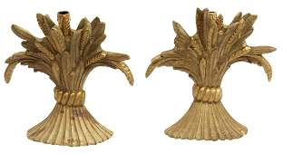 (2) ITALIAN GILTWOOD WHEAT ONE-LIGHT WALL SCONCES