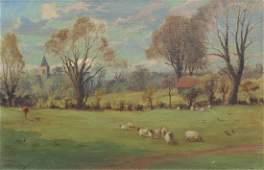 CHARLES STEAVENSON (1867-1951) SHEEP PASTURE