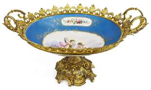 SEVRES STYLE METAL-MOUNTED PORCELAIN CENTERPIECE