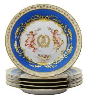 (5) SEVRES CHATEAU DE TUILERIES PORCELAIN PLATES