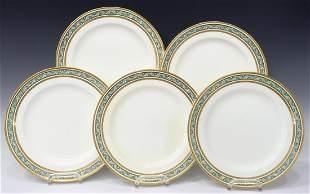 (5) MINTONS TIFFANY & CO PARCEL GILT DINNER PLATES