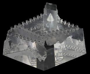 STEUBEN 'CASTLE OF DREAMS' GLASS SCULPTURE