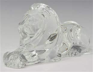 STEUBEN LLOYD ATKINS GLASS REPOSING LION FIGURE