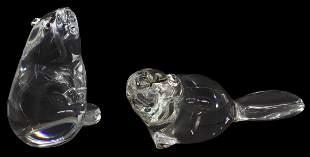 (2) STEUBEN LLOYD ATKINS GLASS BEAVER FIGURES