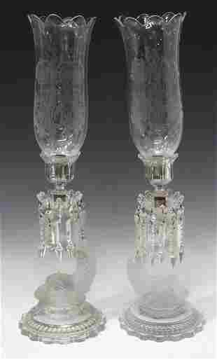 (2) BACCARAT CRYSTAL DOLPHIN HURRICANE LAMPS
