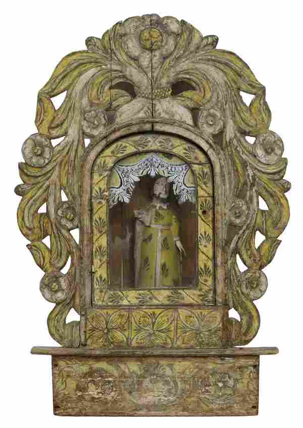 SPANISH COLONIAL PAINTED NICHE ALTAR SHRINE