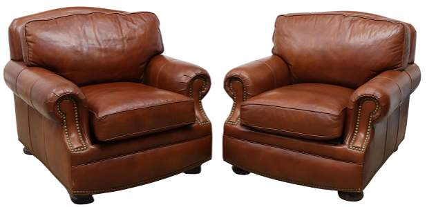 (2) HANCOCK & MOORE LEATHER UPHOLSTERED ARMCHAIRS