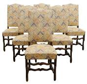 (6) LOUIS XIV STYLE UPHOLSTERED HIGHBACK CHAIRS