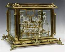 FRENCH GILT BRONZE & BEVELED GLASS CAVE A LIQUEUR