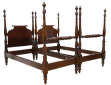2 FEDERAL STYLE MAHOGANY TWIN FOURPOSTER BEDS