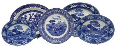 (5) ENGLISH BLUE & WHITE TRANSFERWARE PLATTERS