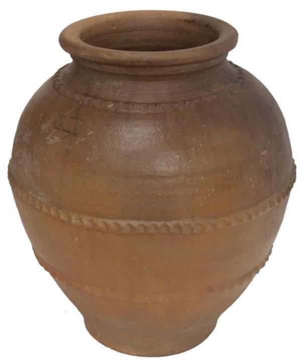 ANTIQUE SPAIN POTTERY OLIVE JAR, STAR OF DAVID