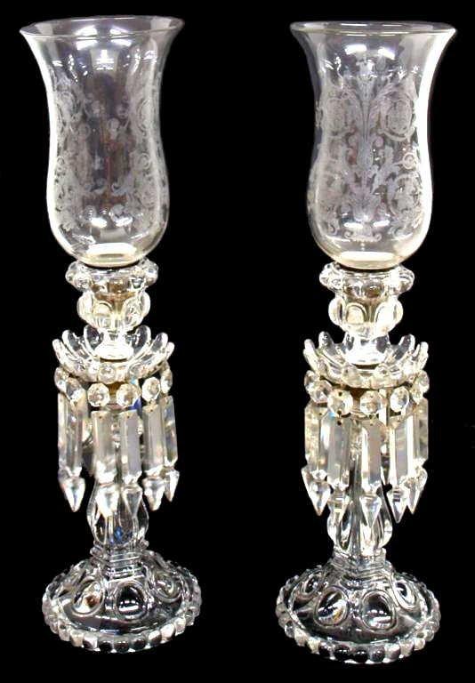 ORIGINAL BACCARAT CRYSTAL PRISM HURRICANE LAMPS
