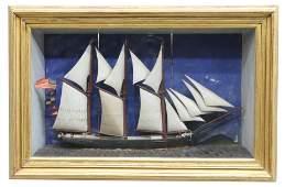 AMERICAN FOLK ART FRAMED SHIP DIORAMA, 19TH C.