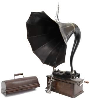 EDISON MODEL-C HOME CYLINDER PHONOGRAPH & HORN