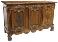 FRENCH LOUIS XV STYLE CARVED WALNUT SIDEBOARD