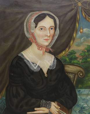 AMERICAN SCHOOL PORTRAIT OF A LADY LACE BONNET