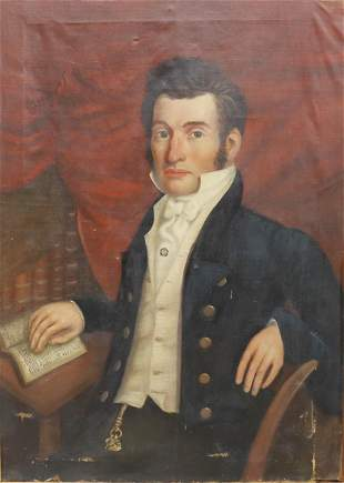 AMERICAN SCHOOL PORTRAIT OF A MASON GENTLEMAN