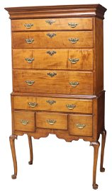 NEW HAMPSHIRE QUEEN ANNE MAPLE HIGHBOY 18TH C.