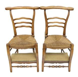 (2) FRENCH PROVINCIAL CONVERTIBLE PRAYER CHAIRS