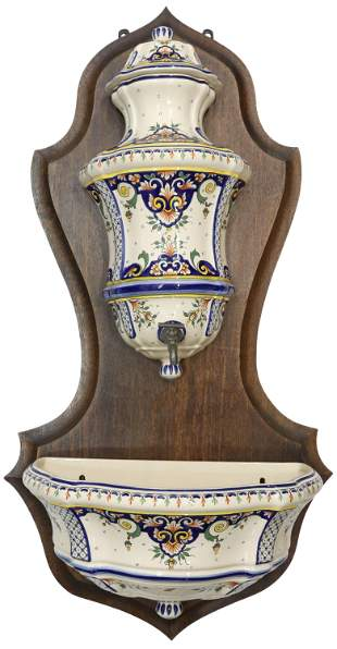 FRENCH HAND-PAINTED FAIENCE LAVABO FOUNTAIN